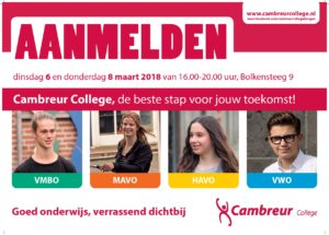 Aanmeldingen Cambreur College2018